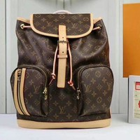 DCCK Louis Vuitton Women Leather Bookbag Shoulder Bag Handbag Backpack