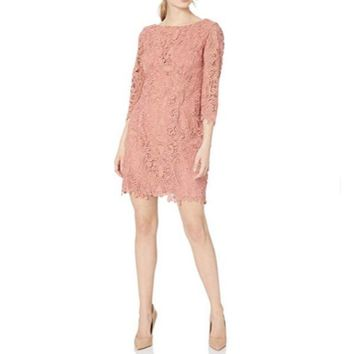 Eliza J Women's Lace Coral Sheath Dress Size 14