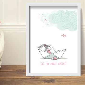 PRINT - Pink baby girl nursery bedroom wall poster - girl in a boat - sail to your dream, minimal, romantic, white, pink, boat, girl, bird