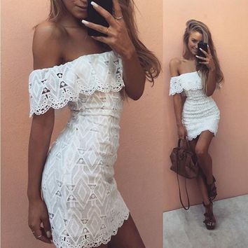Lace Hollow Out Summer Elegant Vintage White One Piece Dress [11601379354]