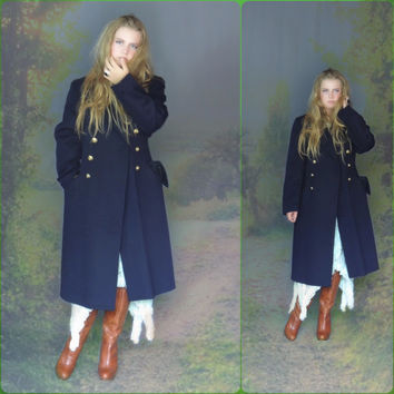authentic vintage military trench coat / long french navy felted wool jacket / double breasted gold buttons