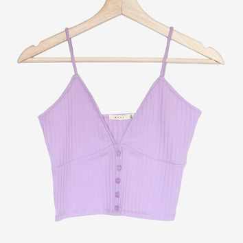 Button Accent V-neck Cami - Lavender