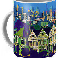 San Francisco's Painted Ladies Coffee Mug for Sale by Susan Eileen Evans