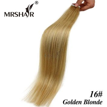 """MRSHAIR 16# Seamless Tape Hair Extensions 20pcs Brazilian Straight Hair On Adhesive Tape In Gold Blonde Hair 16"""" 18"""" 20"""" 22"""" 24"""""""