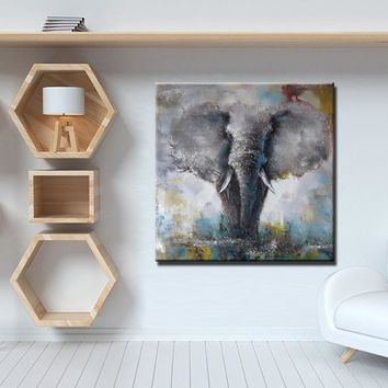 Wall Art Poster - Modern Abstract Hand Painted Animals Print on Canvas Elephant and Deer oil Painting For Living Room Home Decor