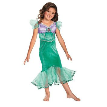 VONEKT2 Disney Princess Ariel Sparkle Costume - Girls 4-8 (Green)