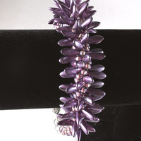 Purple Kumihimo Spiked Bracelet, Czech Dagger Beads, Seed Beads, Japanese Weaving