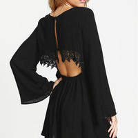 Black Mini Dress with Lace Panel and Open Back