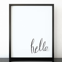 Hello quote print in hand lettered calligraphy