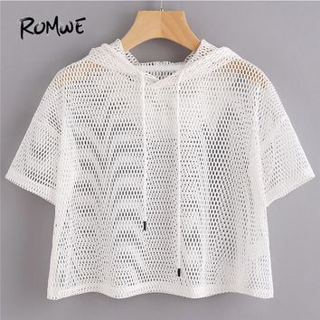 ROMWE White Drawstring Regular Fit T Shirt 2018 Summer Short Sleeve Sexy Sporty Tee Drop Shoulder Crop Fishnet Hooded T-shirt
