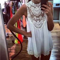 Hollow Out  Lace Fashion Loose Tunic Shirt Top Blouse
