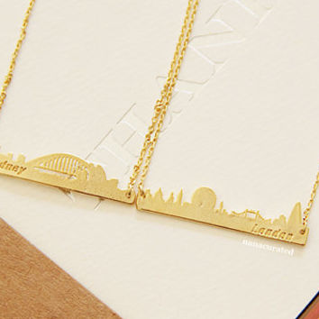 Gold Plated London Bar Charm Necklace, ,Tiny Charm Necklace,GoldPlated Charm Necklace, GoldPlated Necklace, Hipster, Instagram, HolidayGifts