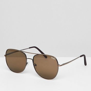 Quay Aviator Sunglasses In Brown at asos.com