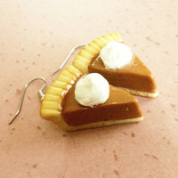 polymer clay pumpkin pie earrings whith whipped cream