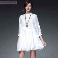 Sinofashion  2016 European Summer Style Chiffon O-Neck Three Quarter  Casual Cute Floral Embroidery Lace  White Dress