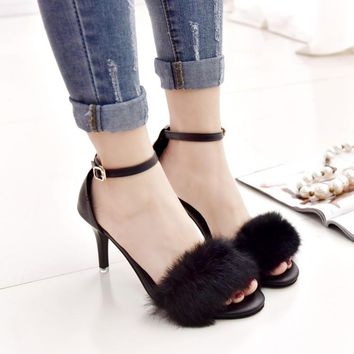 2017 paragraph guoqiu rabbit Roman shoes A word buckle contracted fur one high heels and sexy joker ladies sandals