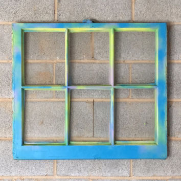 Vintage 6 Pane Window Frame - 32 x 27, Blue, Graffiti, City, Home Decor, Photos, Picture Frame, Modern, Colorful, Art, Wedding, Engagement