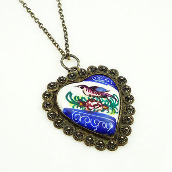 Vintage Necklace Persian Enamel Bird Heart Shape Pendant Jewelry