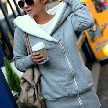 Long Sleeve Cashmere Hooded Sweatshirt