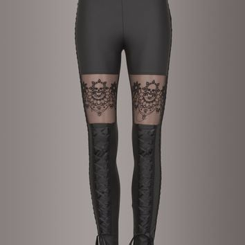 Skull Lace Faux Leather Leggings by Punk Rave