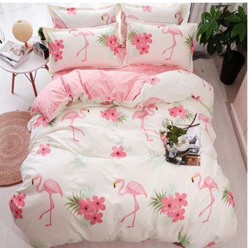 Home Textile Flamingo Cartoon Lovely Bedding Sets Duvet Cover Pillowcase Sheet Linen Twin Full Queen King Size 3/4Pcs