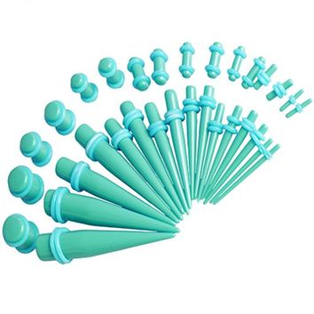 """BodyJ4You Gauges Kit 36 Pieces Turquoise Acrylic Tapers & Plugs Double """"O"""" Rings 14G 12G 10G 8G 6G 4G 2G 0G 00G"""