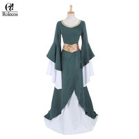 Rolecos Women European court Victorian Costumes Gothic Dark Green Medieval Renaissance Long Dresses Gothic Evening Dresses