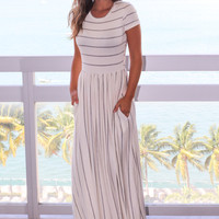 Ivory and Gray Striped Maxi Dress