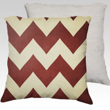 Red Velvet -  Chevron Pillow Cover -   Apartment, Dorm, Home, Decor, Rust, Rusty, Zig Zag, Stripes, Rustic