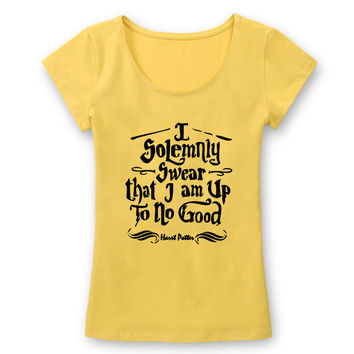 Harry Potter I Solemnly Swear that I am Up To No Good T Shirts Women Slim Fit Cotton Tshirts Female Letters Print T-shirts
