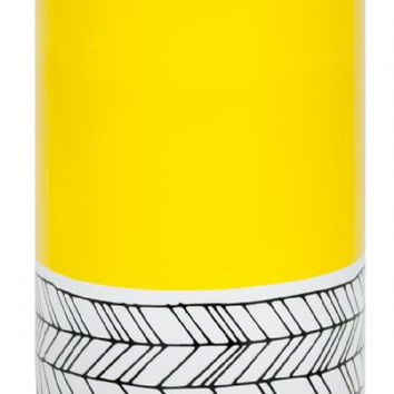 General Eclectic canister  tall yellow feather pattern