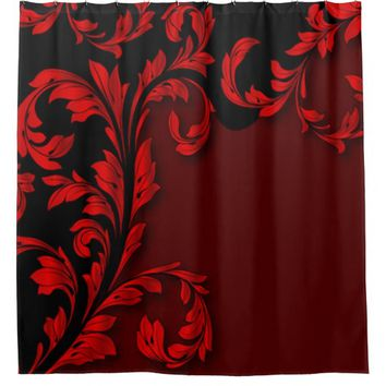 Romantic Red & Black Flourish Shower Curtain