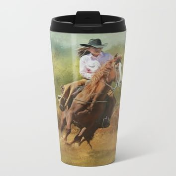Working Girl Metal Travel Mug by Theresa Campbell D'August Art