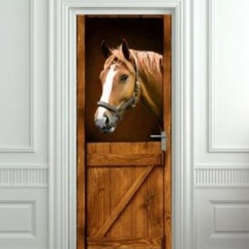 "Door LAMINATED STICKER Horse in Stall Stable Western mural decole film self-adhesive poster 30x79""(77x200 cm)"