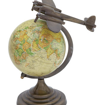 Harvey & Haley Designer Aluminium Globe with Round Base & Brass Furnish