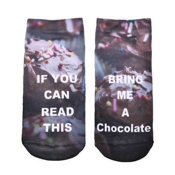 "2017 Funny Ankle Socks/Women/""If You Can Read This, Bring Me A Chocolate"" Flower Petals"