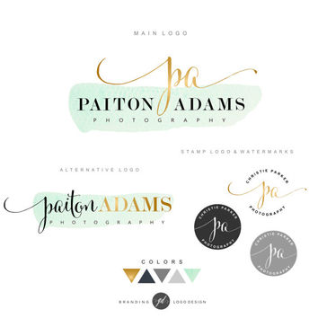 Logo, Premade Branding Kit, Photography logo package, Watermark, Gold initials Logo Design, Stamp Branding kit, Watercolor logo, Business 07