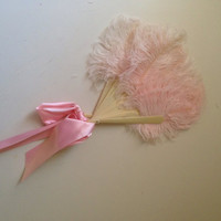 Vintage pink feathered fan 1940s