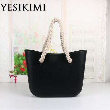30a2dc903 2017 New Women Silicone Bag Bucket O Casual Tote Summer Beach Purses 42CM  Silica Handbag Rope