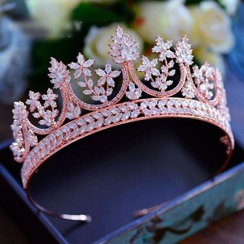 High-end Royal Queen Rose Gold Cubic Zircon Tiaras Crowns Luxurious