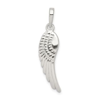 Sterling Silver Polished And Textured Angel Wing Pendant