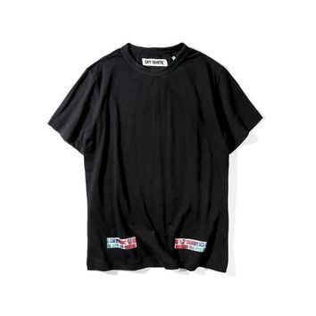 spbest Off-White Color Flame Brick Religious Stripes T-Shirt
