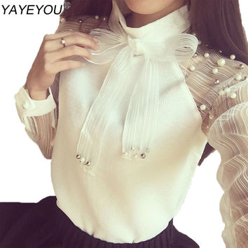 YAYEYOU Spring Elegant Organza Bow of Pearl White Blouse Casual Chiffon Shirt Women Vintage Sleeve Blouses and Tops