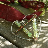 Apple Red and Green Open Heart Necklace, Ribbon Necklace, Beaded Silver Heart Pendant Necklace