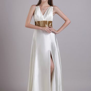 White/Gold Wedding Reception Dresses Side Slit Cross Strap Open Back Sexy Beach Bridal Gowns