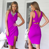 Irregular Solid Color V-neck Bodycon Dresses