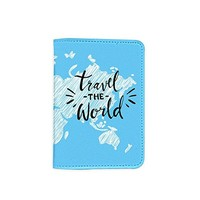 Travel The World World Map Passport Holder - Novelty Leather Passport Cover - Vintage Passport Wallet - Travel Accessory Gift - Travel Wallet for Women and Men_LOKISHOP