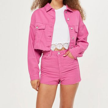 Pink Hacked Denim Jacket - Denim - Clothing