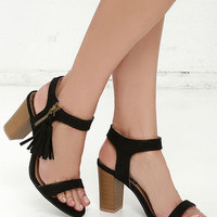 Tassel Time Black Suede High Heel Sandals