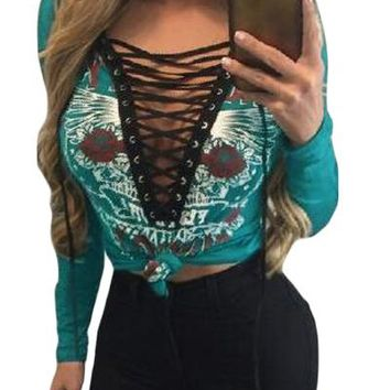 Green Printed Lace Up V Neck Long Sleeve Shirt